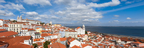 Panoramic view of Lisbon rooftop from Portas do sol viewpoint - Stock Images
