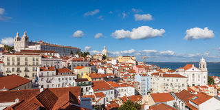 Panoramic view of Lisbon rooftop from Portas do sol viewpoint - Stock Image
