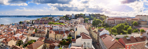Panoramic view of Lisbon rooftop from Sao Vicente de Fora church Stock Image