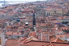 Panoramic view of Lisbon. Santa Justa Elevator Stock Images