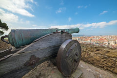 Panoramic view of Lisbon, from Sao Jorge Castle in Portugal Royalty Free Stock Photography