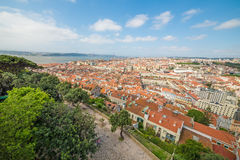 Panoramic view of Lisbon, from Sao Jorge Castle in Portugal Stock Photo