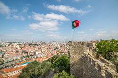 Panoramic view of Lisbon, from Sao Jorge Castle in Portugal Stock Image