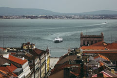 Panoramic view of Lisbon and Tagus river, Portugal Royalty Free Stock Photo