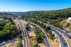 Panoramic view on Lisbon. Travel Portugal. Roads and bridges in big european city. Aerial, modern, residential, architecture, cityscape, landmark, landscape stock images
