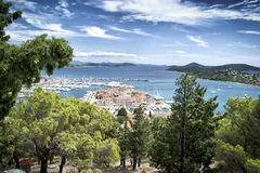 Panoramic view of the little fishing village and the islands in background stock photo