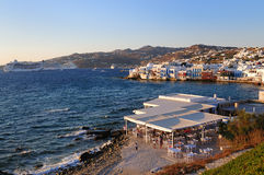 Panoramic view of little venice ,Mykonos island Royalty Free Stock Photos