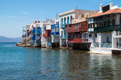 Panoramic view of little Venice on Mykonos Island Stock Photography