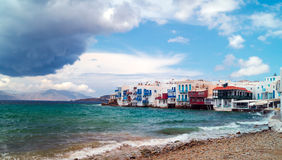 Panoramic view of little Venice on Mykonos Island Royalty Free Stock Photography