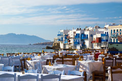 Panoramic view of little Venice on Mykonos Island Royalty Free Stock Images