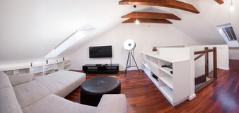 Panoramic view of living room Stock Images