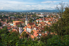 Panoramic view of Ljualjana, the capital of Slovenia Stock Photography