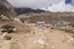 View of the Lobuche village with lodges, Everest Base Camp trek, Nepal stock image