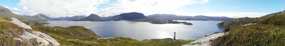 Panoramic view of a loch and hills Royalty Free Stock Photos