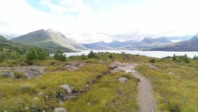 Panoramic view of a loch and hills Stock Photography