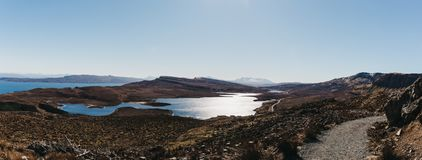 Panoramic view of the Loch Leathan and it`s surroundings from Old Man of Storr trek, Isle of Skye, Scotland. Panoramic view of the Loch Leathan and it`s Stock Image