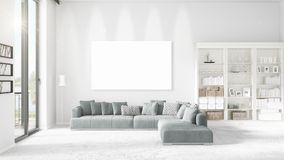 Panoramic view in loft interior with plush divan, empty frame and copyspace in horizontal arrangement. 3D rendering. Stock Image