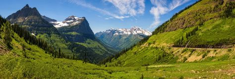 Panoramic view of Logan Pass in Glacier National Park, Montana. Beautiful panoramic view of Logan Pass from the Going to the Sun Road in Glacier National Park stock photos