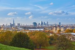 Panoramic view of London cityscape seen from Greenwich Stock Photography