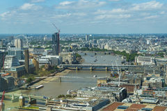 Panoramic view of London from Sky Garden in Walkie Talkie Stock Images