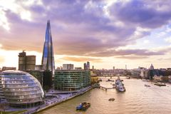 Panoramic view of London skyline at sunset. The Shard and the City Hall royalty free stock image