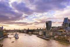 Panoramic view of London skyline towards Fenchurch and Saint Paul`s Cathedral royalty free stock image