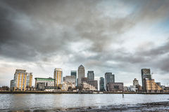 Panoramic view of London skyscrapers with a dramatic sky Royalty Free Stock Images