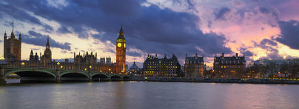 Panoramic view of London at sunset Royalty Free Stock Photo
