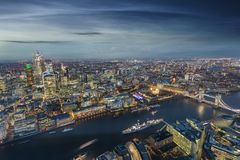 Panoramic view of London: from the Tower Bridge to Canary Wharf, UK. Panoramic view of London: from the Tower Bridge to the financial district Canary Wharf stock images