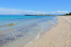 Panoramic view of a long white sand beach beside the turquoise s Stock Photography