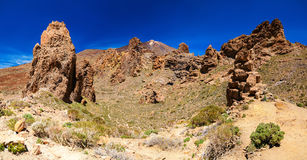 Panoramic view of Los Roques de Garcia and Teide volcano Stock Image