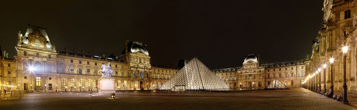 Panoramic view of Louvre Art Museum at night Stock Photo