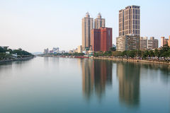 Panoramic view of the Love River of Kaohsiung from the bridge on Wufu Road Royalty Free Stock Image
