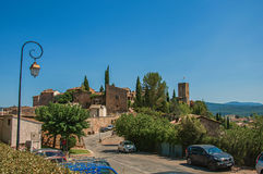 Panoramic view of the lovely hamlet of Les Arcs-sur-Argens. Les Arcs-sur-Argens, France - July 10, 2016. Panoramic view of the lovely hamlet of Les Arcs-sur Royalty Free Stock Images