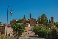 Panoramic view of the lovely hamlet of Les Arcs-sur-Argens. Les Arcs-sur-Argens, France - July 10, 2016. Panoramic view of the lovely hamlet of Les Arcs-sur Stock Images