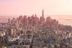 Panoramic view of Lower Manhattan as seen from the Empire State. Building observation deck in the late afternoon (New York, USA Stock Image