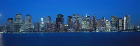 Panoramic view of Lower Manhattan and Hudson River at dusk, where World Trade Towers were located, NY Royalty Free Stock Image