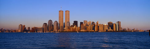 Panoramic view of lower Manhattan and Hudson River, New York City skyline, NY with World Trade Towers at sunset royalty free stock image
