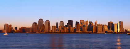 Panoramic view of lower Manhattan and Hudson River, New York City skyline at sunset Stock Images