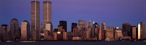 Panoramic view of lower Manhattan and New York City skyline, NY with World Trade Towers at sunset Royalty Free Stock Photo