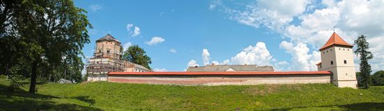 Panoramic view of Lubcha Castle. Medieval castle located in Lubcha, Belarus royalty free stock photo