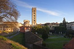Panoramic view of Lucca with the San Frediano church Royalty Free Stock Photos