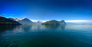 Panoramic view of Lucerne lake with swiss alps in spring Stock Images