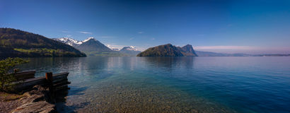 Panoramic view of Lucerne lake with swiss alps in spring Royalty Free Stock Photography