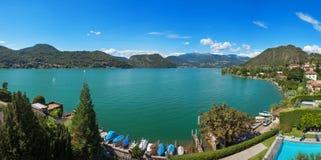 Panoramic view of Lugano lake Royalty Free Stock Photo