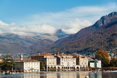 Panoramic view on Lugano lake, Switzerland.  Royalty Free Stock Photo