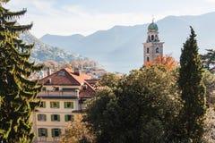 Panoramic view on Lugano lake, Switzerland.  Stock Photo