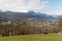 Panoramic view of Lugano, Switzerland, with showy Apls Stock Photo