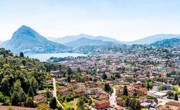 Panoramic view of Lugano, Switzerland Stock Photo