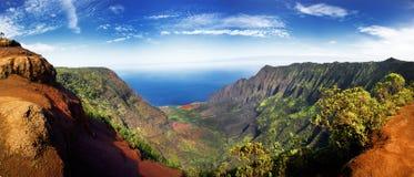 Panoramic view of  lush green foliage. In Weimea Canyon and NaPali coast Kauai, Hawaii Stock Photo